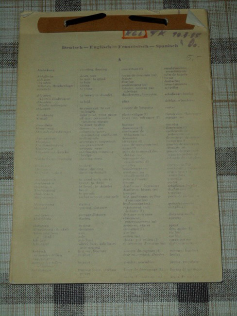 Wörterverzeichnis Deutsch - Englisch - Französisch - Spanisch, Begriffe aus dem Bereich Bauwesen von A wie Abdeckung bis z wie zylindrisch