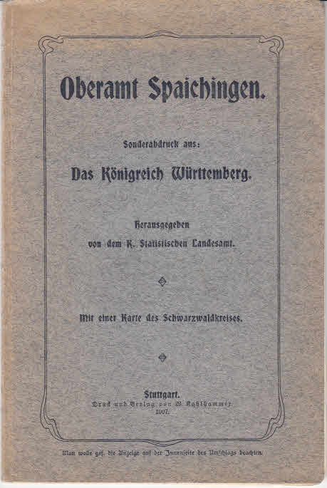 Oberamt Spaichingen. < Sonderabdruck aus: Das Königreich Württemberg >.