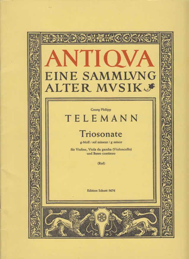 Triosonate g-Moll : für Violine, Viola da gamba und Basso continuo Edition Schott 5676