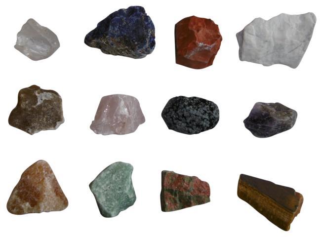 Mineralien Rohsteine Edelsteine Sammlung 12 Stück im Einzelnen benannt z.B. Rosenquarz Bergkristall Amethyst uva.