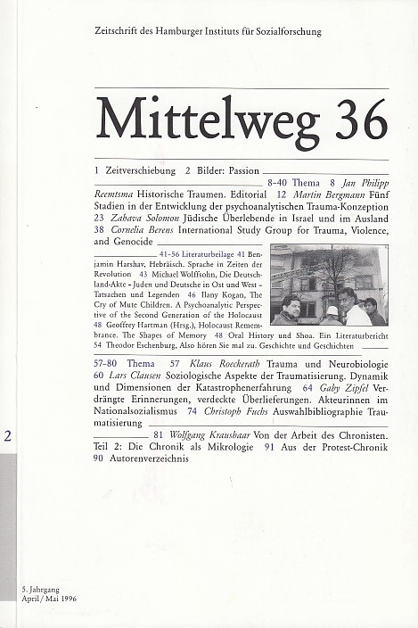 Mittelweg 36. Zeitschrift des Hamburger Instituts für Sozialforschung. April/ Mai November1996.