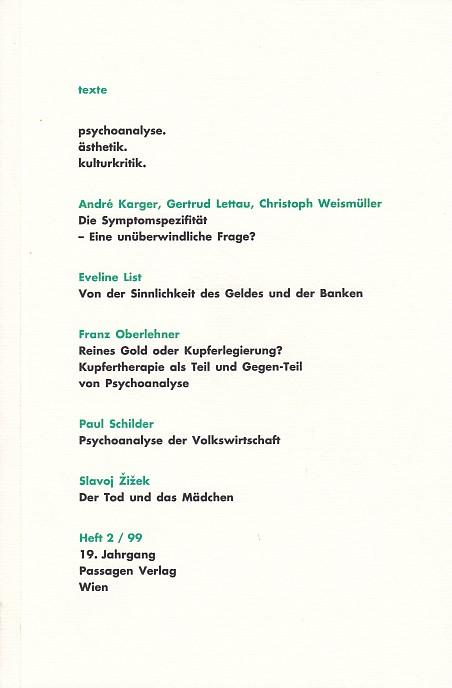 texte. psychoanalyse. ästhetik. kulturkritik. Heft 2. 99.