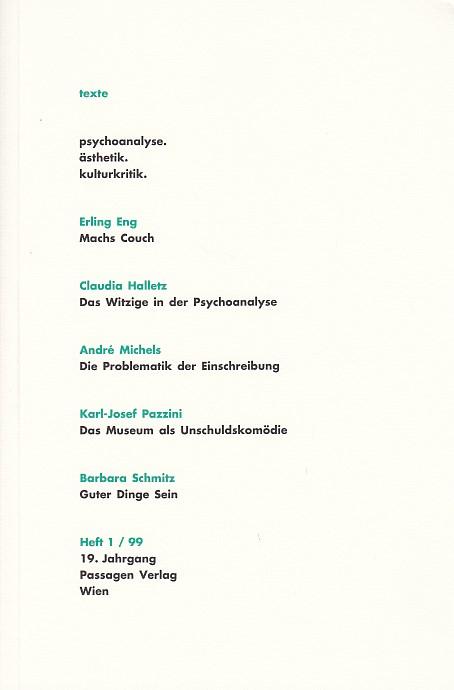 texte. psychoanalyse. ästhetik. kulturkritik. Heft 1. 99.