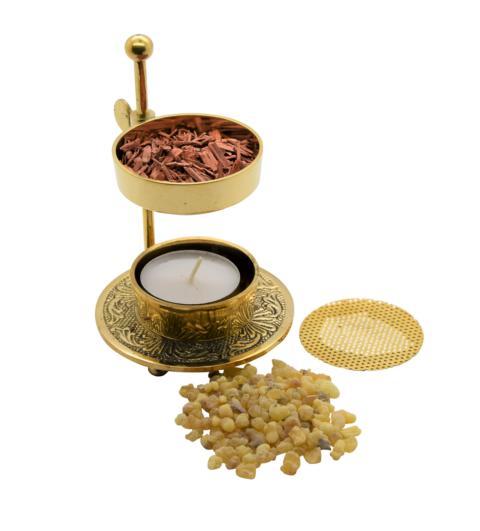 AMAHOFF Weihrauchbrenner höhenverstellbar - Gold Messing Räuchergefäß höhenverstellbar zum Räuchern von Weihrauch oder Harzen inkl. Starterkit