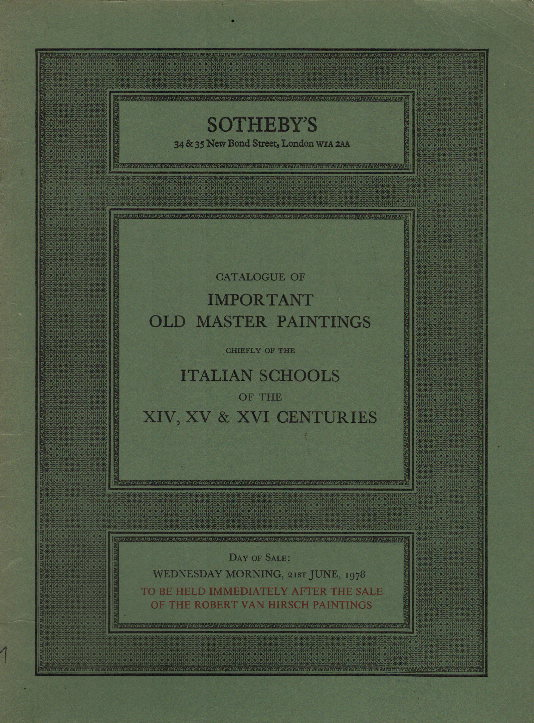 Sotheby's, Sotheby's: Sotheby's: Catalogue of important old master Paintings, 21 June, 1978