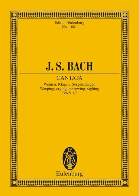Kantate Nr. 12 (Dominica Jubilate) BWV 12 Weinen, Klagen, Sorgen, Zagen, (Serie: Eulenburg Studienpartituren), (Reihe: Eulenburg Studienpartituren) Studienpartitur - Bach, Johann Sebastian; Horn, Paul (Hrsg.)