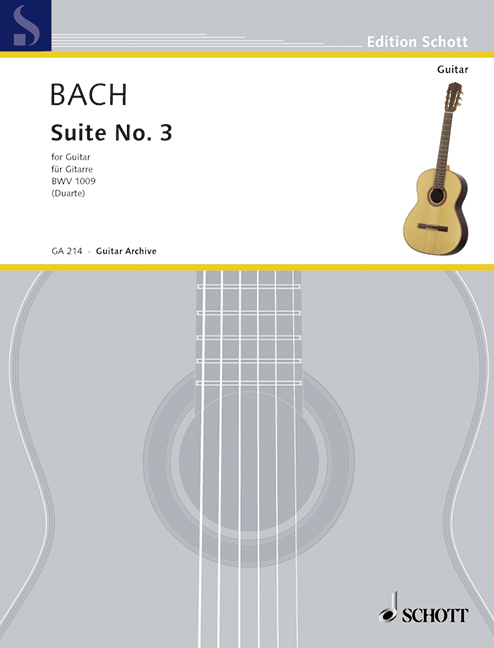 Suite No. 3 für Violoncello BWV 1009 Transkription für Gitarre, (Serie: Gitarren-Archiv) revidierte Neuausgabe - Bach, Johann Sebastian; Duarte, John William (Hrsg.)