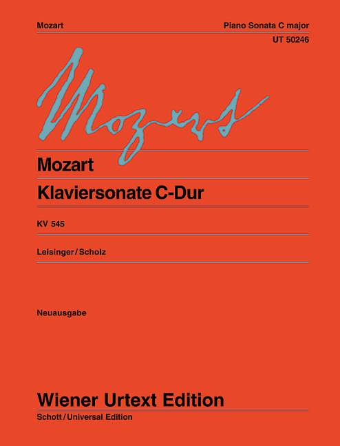 Klaviersonate Sonata facile  C-Dur KV 545 Urtext, (Serie: Wiener Urtext Edition) Urtextausgabe - Mozart, Wolfgang Amadeus; Leisinger, Ulrich (Hrsg.); Scholz, Heinz (Bearb.)