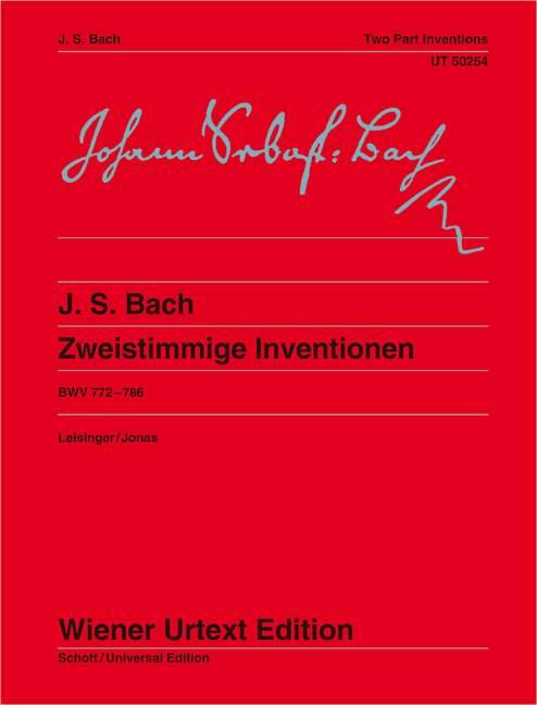 Zweistimmige Inventionen BWV 772-786 Herausgegeben nach den Quellen von Ulrich Leisinger, Fingersätze von Oswald Jonas., (Serie: Wiener Urtext Edition) Urtextausgabe Erste Auflage - Bach, Johann Sebastian; Leisinger, Ulrich (Hrsg.); Jonas, Oswald (Bearb.)