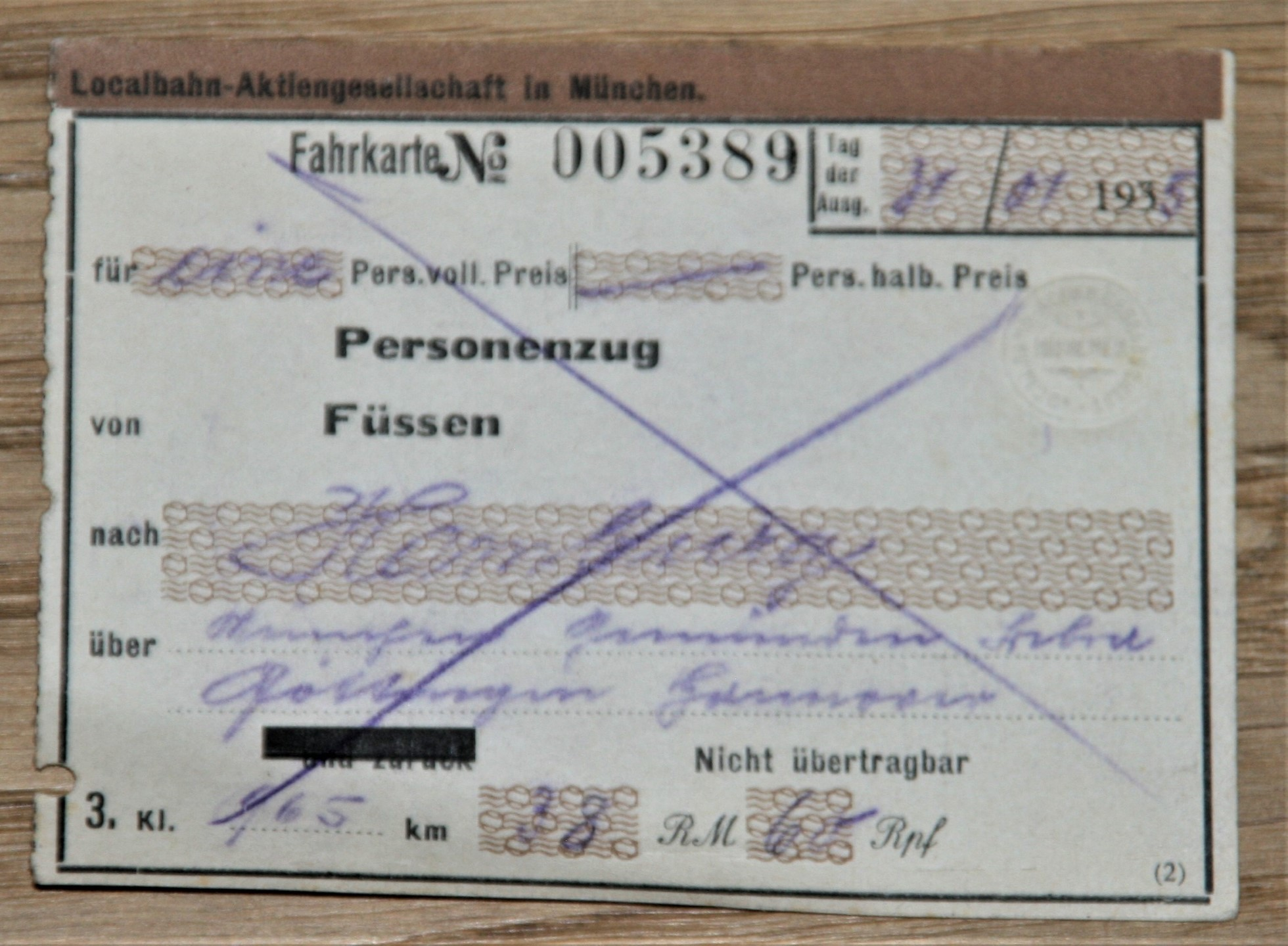 Fahrkarte Ticket Localbahn-Aktiengesellschaft in München. 1935.