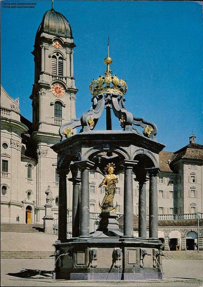 1105767  Einsiedeln Marienbrunnen mit Kloster
