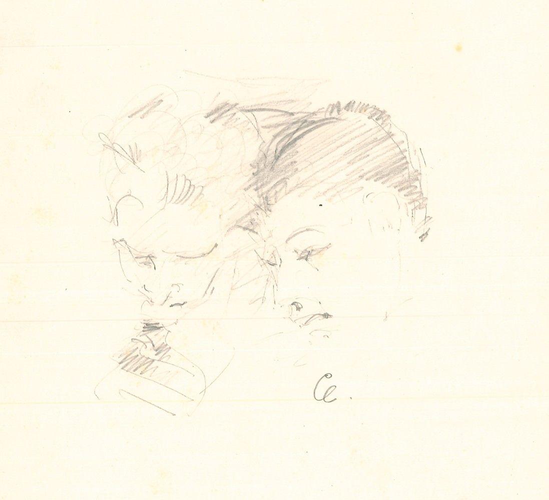 """Eigenhändige Bleistiftzeichnung  mit einem begleitenden Autograph (sign. """"Paul"""") für Nani Demus."""