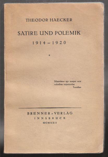Satire und Polemik 1914-1920.