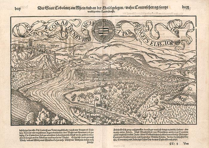 Die Statt Cobolenz am Rhein und an der Mosel gelegen / wahre Contrafeytung sampt umbligender Landtschafft.