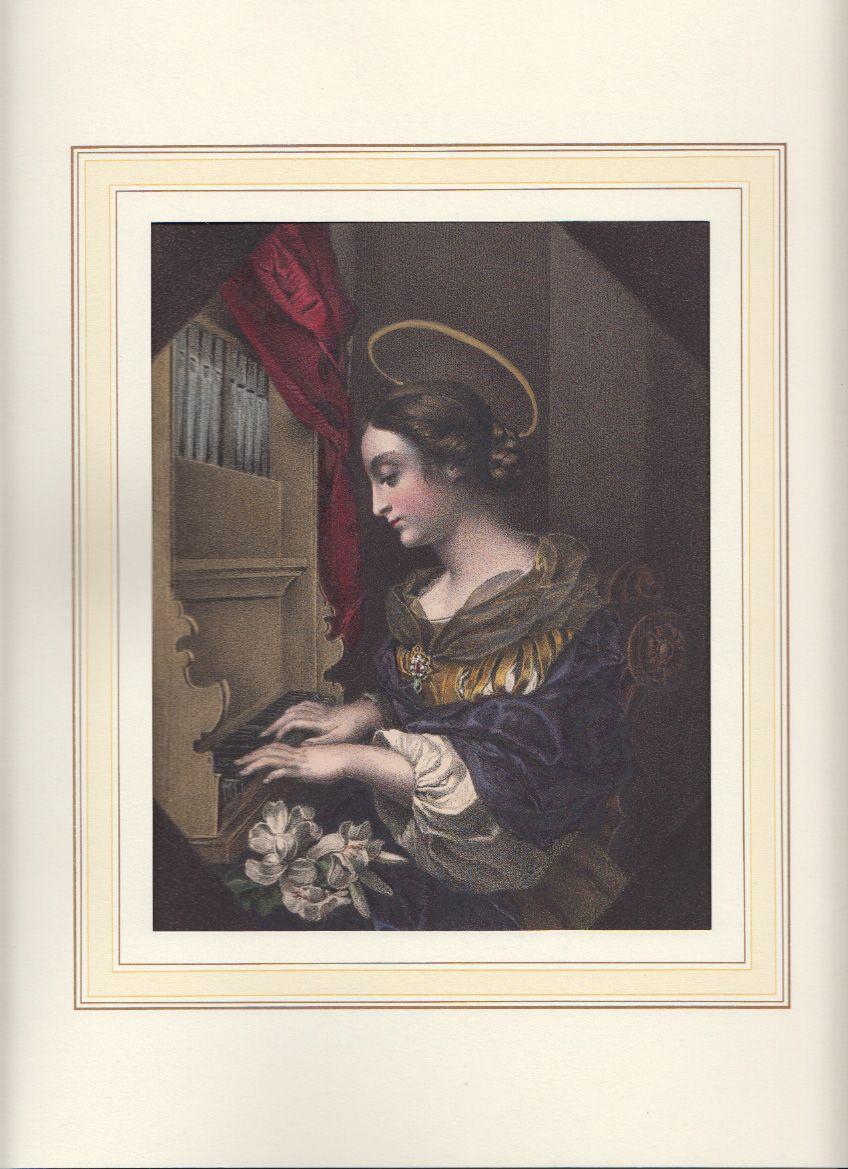 Die heilige Cäcilia musiziert an einer Orgel.