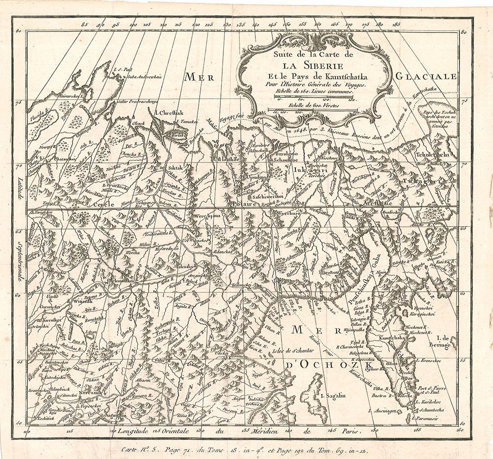 Suite de la Carte de la Siberie et la pays de Kamtschatka. Pour l`Histoire Generale des Voyages.