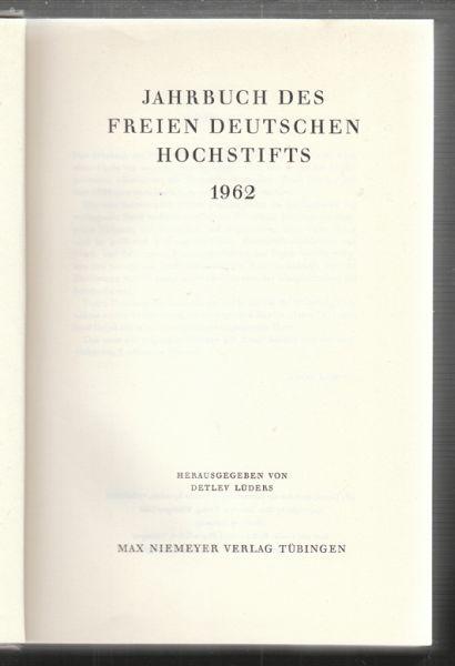 Jahrbuch des freien deutschen Hochstifts 1962-1980. Hrsg. v. Detlev Lüders.