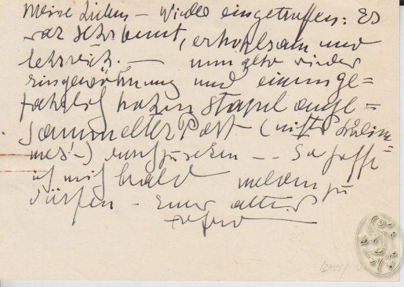 KUBIN, Alfred, Zeichner und Schriftsteller (1877-1959). Eigenhändige Postkarte an Ad. Hellmann. Beidseitig beschrieben.