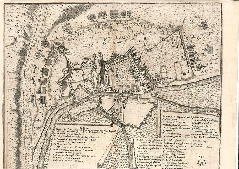 Dissegno di Stettin in Pomerania assediato e attaccato dall` Arm. Imperiali alli 29. di Settembre fino alli 15. di Novembre 1659.