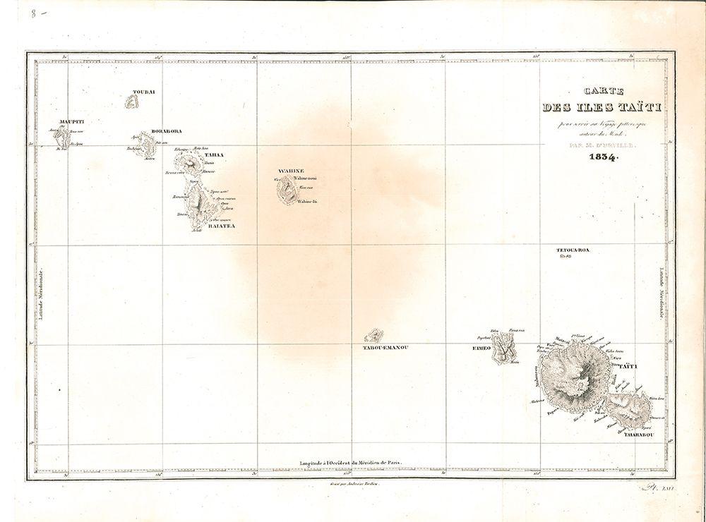 Carte des Iles Taiti pour servir au Voyage pittoresque autour de Monde.