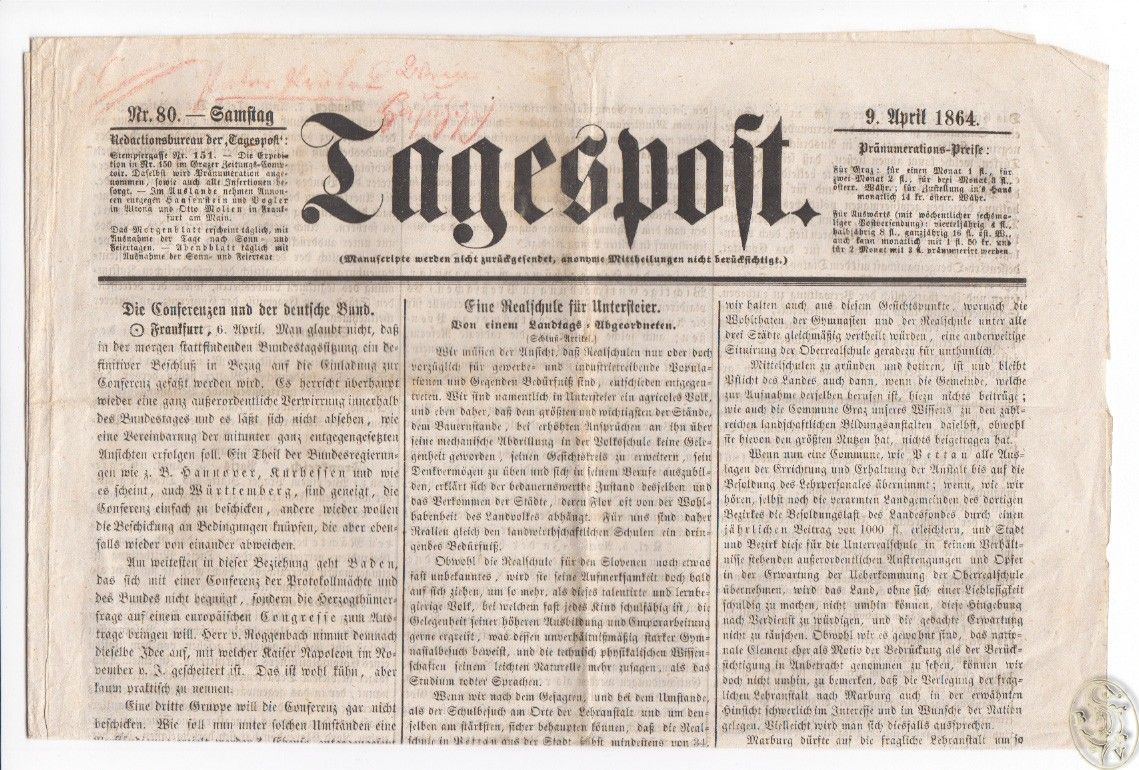 Tagespost. 9. April 1864. Red. Ad. Vict. Svovoba.