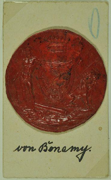 Wappensiegel des Hauses Bonamy. Wappenschild unter fürstl. Kröne.
