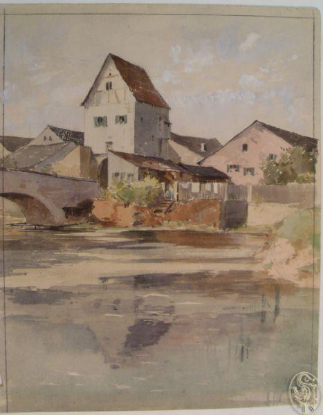 KASIMIR, Luigi. Graphiker (1881-1962). Dollenstein. [Häuser an einem Fluß].