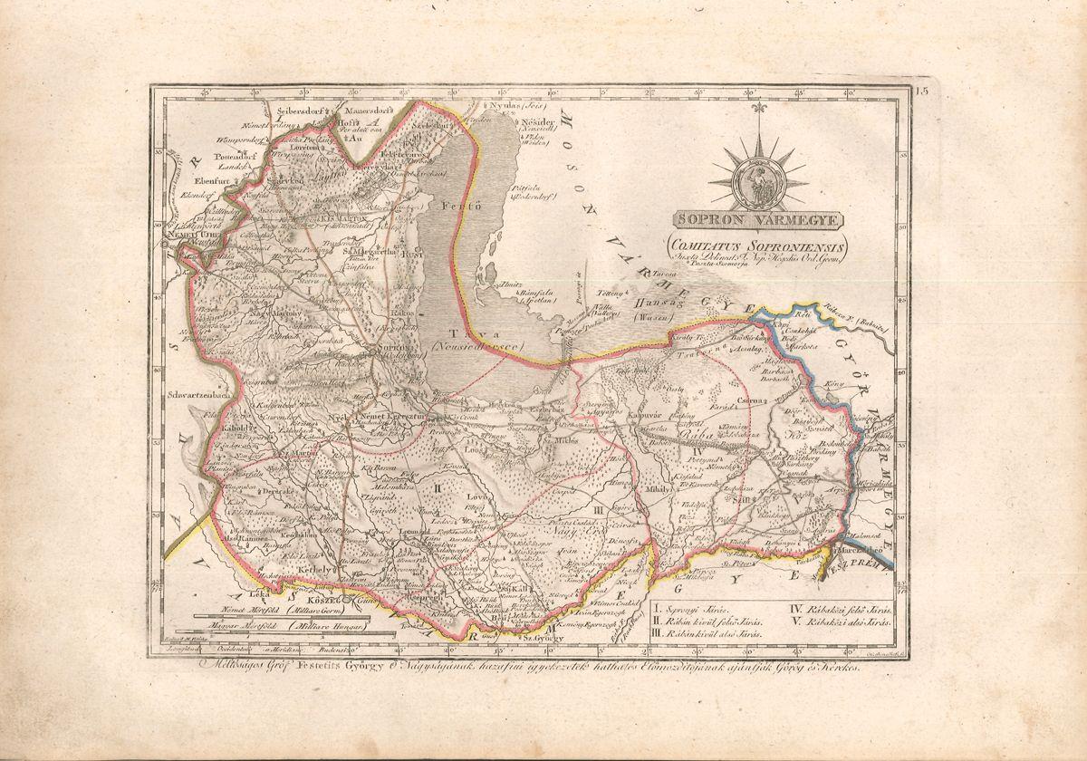 Sopron Vármegye (Comitatus Soproniensis). Iuxta Delineat J. Nep. Hegedüs. Reduxit M. Votésky. H. Benedicti sc.