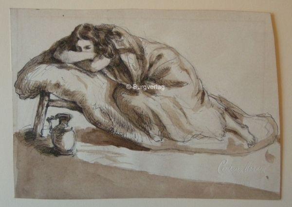 VAN HAANEN, Cecil (1844-1914). Liegende mit Krug.