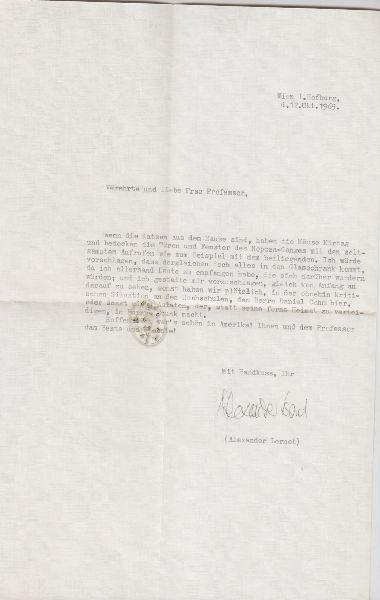 Ms. Brief mit eigenhändiger Unterschrift.