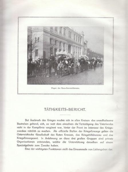 Tätigkeits-Bericht des Haus-Sammeldienstes über die Sammelperiode 5. Dezember 1914-15. April 1915 durch alle Bezirke Wiens.