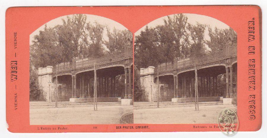 Der Prater, Einfahrt. L`Entrée au Prater. Entrance to Prater Park.