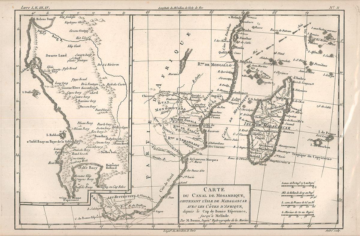 Carte du Canal de Mosambique, contenant l`Isle de Madagscar avec les Cotes d`Afrique, depuis le Cap de Bonne Esperance, jusque à Melinde.