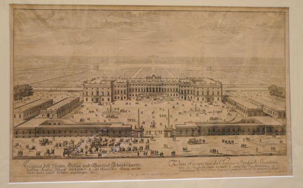 SCHÖNBRUNN - KRAUSS, Johann Ulrich. Prospect deß Neuen Gebau und Gartens Schönbrunn so Seine Kaiser Mayst. Iosephus I. als Römischer König, vor ein Jacht-Haus bauen zu laßen angefangen 1696.