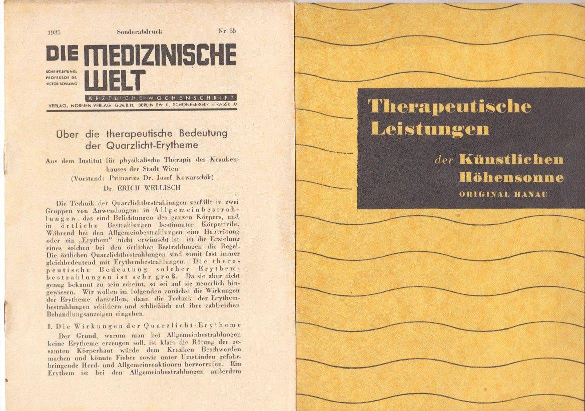 Therapeutische Leistungen der künstlichen Höhensonne - Original Hanau.