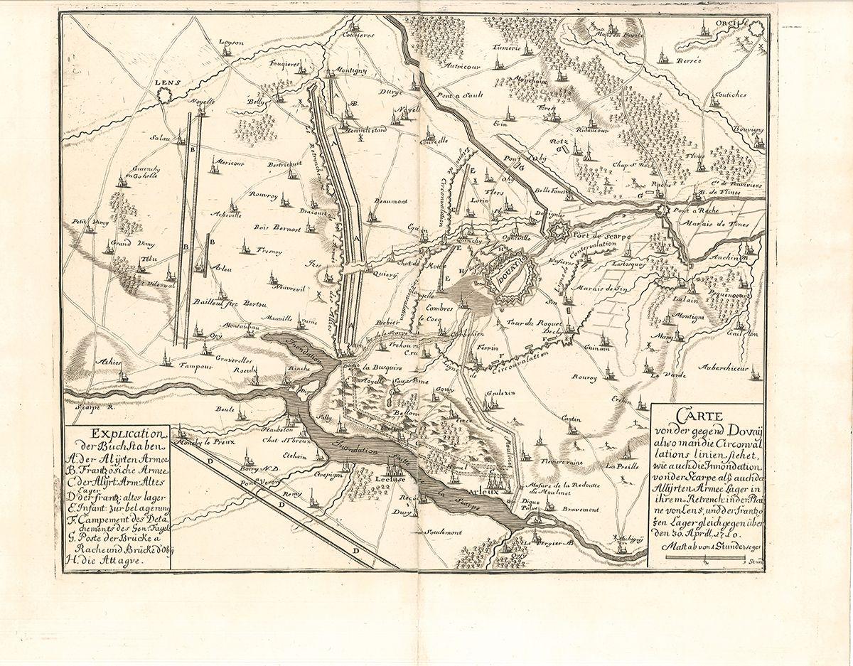 Carte von der gegend Dovaij alwo man die Circonvalations linien siehet, wie auch die Innondation von der Scarpe alß auch der Allijerten Armee Lager in ihrem Retrench in der Plaine von Lens und der Frantzosen Lager gleich gegenüber den 30. Aprill 1710.