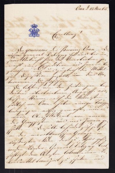 WÜRTTEMBERG, Wilhelm Herzog von. Korrespondenzstücke bestehend aus fünf Briefen.