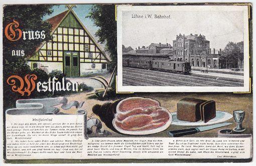 Gruss aus Westfalen. Köhne i. W. Bahnhof. Westfalenlied: ...
