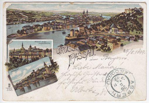Gruss aus Passau. Ansicht von der Donaubrücke. Innstadt.
