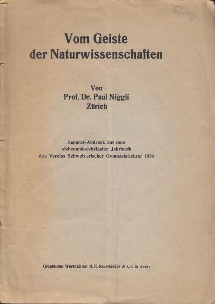 Vom Geiste der Naturwissenschaften.
