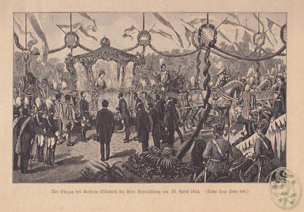 Der Einzug der Kaiserin Elisabeth bei ihrer Vermählung am 23. April 1854.