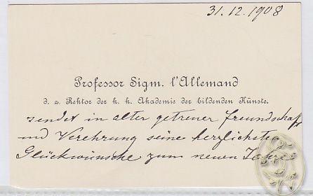Dreizeiliger Neujahrsglückwunsch (Tusche) datiert vom  31.12.1908 auf eigener Visitenkarte.