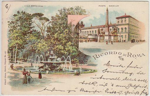 Ricordo di Roma. Villa Borghese. Monte Cavallo.