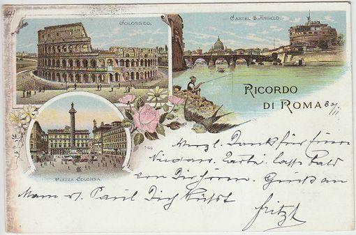 Ricordo di Roma. Colosseo. Castel S. Angelo. Piazza Colonna.