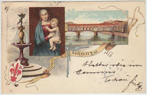Ricordo di Firenze. Ponte Vecchio. Madonna del Grandura. Fontana del Vecchio.