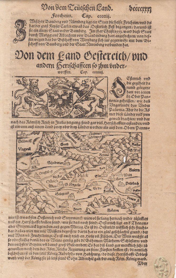 """Holzschnittkarte auf d. vollen Textbl. mit Wappenholzschn. Aus der """"Cosmographia..."""""""