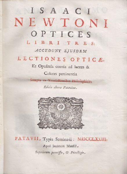 Optices lbri tres: Accedunt ejusdem lectiones opticae, Et Opuscula omnia ad lucem & Colores pertinentia. sumpta et Transactionibus Philosophicis.