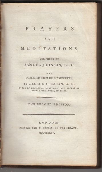 Prayers and Meditations. Published from his Manuscripts by George STRAHAN.