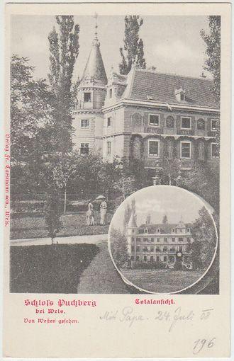 Schloss Puchberg bei Wels. Von Westen gesehen. Totalansicht.