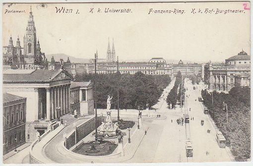 Wien I. Parlament. K. k. Universität. Franzens-Ring. K. k. Hof-Burgtheater.